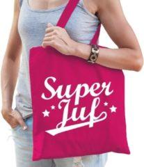 Shoppartners Super juf katoenen kado tas fuchsia roze - Jufdag / einde schooljaar cadeau
