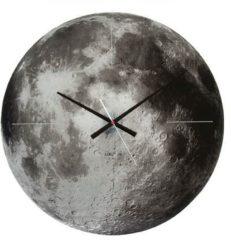 Karlsson Wandklokken Wall clock Moon mirror glass, silent movem. Grijs