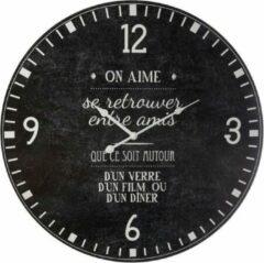 Antraciet-grijze Modernklokken.nl Wandklok On Aime Zwart, Vintage Stijl, Ø 57 cm