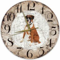 Bruine Creatief Art Houten Klok - 30cm - Hond - Boxer