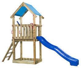 Afbeelding van Blauwe SwingKing Swing King speeltoren hout met glijbaan Lizzy 390cm - blauw