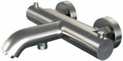 Douche Concurrent Badkraan Brauer Brushed Edition 15cm Thermostatisch Opbouw Rond Geborsteld Nikkel PVD 2 Greeps