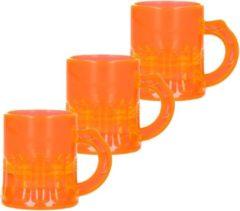Merkloos / Sans marque 25x Shotglas/shotjes fluor oranje UV glaasjes/glazen met handvat 2cl - Herbruikbare shotglazen - Koningsdag/kroeg/bar/cafe shot/shotjes glazen