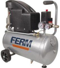 Grijze FERM CRM1045 Compressor (Oliegesmeerd) - 24 Liter - Max. 8 bar - 1100W - Incl. Universele snelkoppeling en 2 Manometers