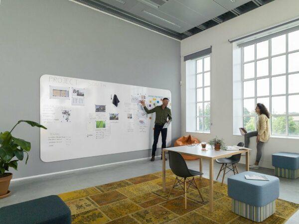 Afbeelding van Chameleon by Smit Visual Smit Visual Chameleon VisuWall Whiteboard – Whiteboard Muur – Wand panelen – Emaille Staal 198x392 cm – Wit - 4 panelen 198x98 cm