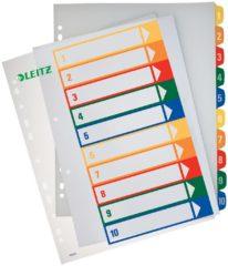 Leitz 12930000 Register DIN A4, Bovenbreedte 1-10 Polypropyleen Meerdere kleuren 10 tabbladen PC-beschrijfbaar 12930000