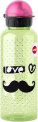 EMSA Mustache 600ml Tritan Zwart, Groen, Roze drinkfles