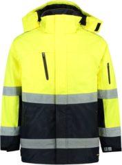 Marineblauwe Tricorp Parka EN471 bi-color - Workwear - 403004 - fluor geel / navy - Maat XXL