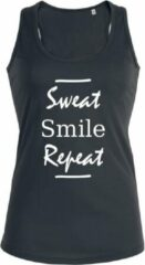Zwarte New York Finest Sweat Smile Repeat dames sport shirt / hemd / top / tanktop - maat XL