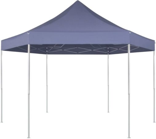Afbeelding van Blauwe VidaXL Partytent pop-up opvouwbaar zeshoekig donkerblauw 3,6 x 3,1 m