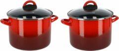 Gerim Set van 2x stuks rvs rode kookpan/pannen Cuenca met glazen deksel 22 cm 9 liter