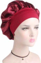 Bordeauxrode Bonnet Satijn XL|Slaapmuts Satijn|Hoofddeksel|Unisex|Cabantis|Bordeaux Rood