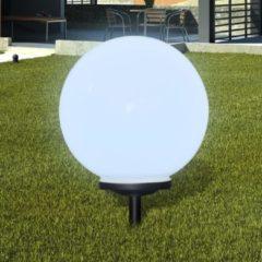 Witte DCM VidaXL - Padverlichting Buitenshuise tuinpad zonne-energie lamp (balvormig) LED 40cm (1 stuk inc. anker)