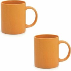 Merkloos / Sans marque 4x Drinkbeker/mok oranje 370 ml - Keramiek - Oranje mokken/bekers voor onbijt en lunch