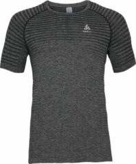Licht-grijze Odlo T-Shirt S/S Crew Neck Seamless Element Heren Sportshirt - Grey Melange - Maat XL
