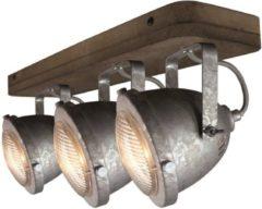 Bruine LT-Luce Freelight Spot Woody 3 lichts zink-hout