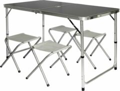 Grijze AMANKA Inklapbare, in hoogte verstelbare campingtafel 120x60x70cm met 4 inklapbare krukken