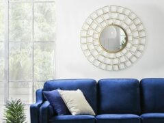 Beliani LABRIT - Spiegel - Metaal - goud - 90x3x90