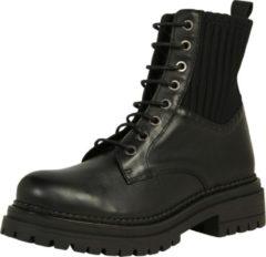 Cashott Ca Shott veter boots dames zwart leer