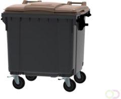 Ese Afvalcontainer 1100 liter grijs met bruin deksel - 4 wielen