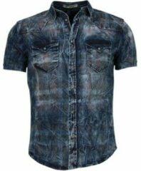 Enos Denim Heren Overhemd - Korte Mouwen - Kleur Print - Blauw Casual overhemden heren Heren Overhemd Maat XS