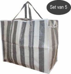 Castillo Jumbo Bag XL - Wastas / Opbergtas / Verhuistas / Big Shopper - Set van 5 stuks - Grijs Wit