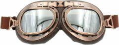 Bruine CRG vintage motorbril - zilver reflectie