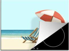 Blauwe KitchenYeah Luxe inductie beschermer Zomerse Illustraties - 75x52 cm - Zomerse illustratie van twee strandstoelen - afdekplaat voor kookplaat - 3mm dik inductie bescherming - inductiebeschermer