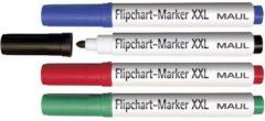 Maul 6383999 Flipchartmarker XXL Ronde punt 2.5 - 3 mm Blauw, Zwart, Rood, Groen 4 stuk(s)