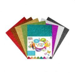 Craft Sensations Glitterpapier A4 | 8 verschillende kleuren | 150 gram | Kerstkleuren | Versier je kerstkaart | knutselen voor kinderen