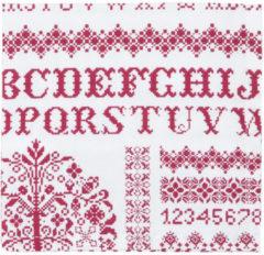Clayre & Eef - Katoenen Servetten - kruissteek patroon - Rood - 40 x 40 cm - 6 stuks