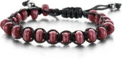 Rode Frank 1967 7FB-0092 - Natuurstenen armband - rope en Jade 8x4 mm - one-size - rood / zwart / zilverkleurig