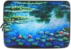 Blauwe Misstella Laptop Sleeve met natuur print tot 13 inch Blauw/Groen