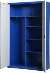 Metalen draaideurkast met hang en leg ruimte, Archiefkast, Kantoorkast I 199x120x43.5 cm I blauw/grijs I DKP-107 I Povag