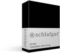 Zwarte Schlafgut Jersey Stretch Hoeslaken Extra Hoog - 2-persoons (140/160x200/220 Cm)