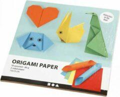 Colortime Origami papier afm. 15x15 cm 80 gr 50 div vellen