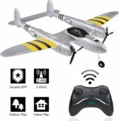 Grijze Syma FX816 RC Vliegtuig - P-38 Lightning Oorlogsvliegtuig - Op Afstand Bestuurbare Vliegtuig - Glider - 20 Minuten Vliegtijd - 2.4G - 43cm Spanwijdte - Extra Ver Bereik >200m