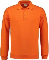 Lemon & Soda Oranje heren sweater met polo kraag L