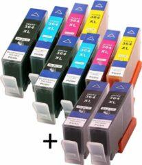 Cyane MediaHolland Huismerk Cartridges HP 364 XL Voordeelpack 10 stuks met 4 x brede zwarte cartridges en 3 x 2 kleuren cartridges