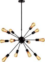 Zwarte QUVIO Hanglamp modern / Plafondlamp / Sfeerlamp / Leeslamp / Eettafellamp / Verlichting / Slaapkamer lamp / Slaapkamer verlichting / Keukenverlichting / Keukenlamp - Ster van metaal met 18 fittingen - 65 x 85 x 51 cm (lxbxh)