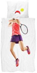 Witte Snurk Tennis Pro Light dekbedovertrekset van biologisch katoen 160TC - inclusief kussenslopen