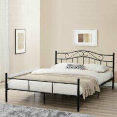 En.casa® Florenz Metalen-frame bed - zwart - 200x160cm