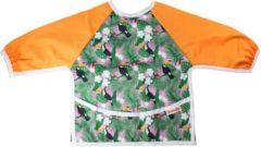 Paarse Slab met mouwen | KliederZ lange mouwslab 6 - 18 mnd | meisje babyslab oranje Jungle LB05b