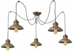 Franssen Verlichting Plafondlamp 5 verstelbare lampen verkoperd messing - zwart/groen