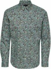 ONLY & SONS gebloemd slim fit overhemd met biologisch katoen mintgroen