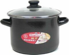 Zwarte Gerim Rvs kookpan/soeppan met glazen deksel 20 cm 8 liter - pannen voor soep