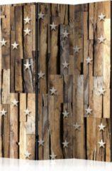 Bruine Kamerscherm - Scheidingswand - Vouwscherm - Wooden Constellation [Room Dividers] 135x172 - Artgeist Vouwscherm