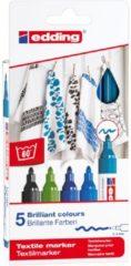 Edding textielstift 4500, set van 5 stuks in geassorteerde koele kleuren