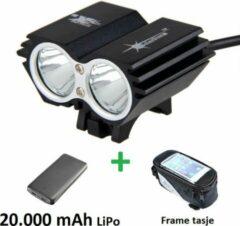 Zwarte SolarStorm X2 set - USB MTB/race LED koplamp EXTREEM veel licht met 2x CREE T6 LED - met 20.000 mAh LiPo Powerbank en handig frametasje