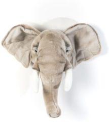 Grijze Wild & Soft Dierenkop Olifant licht - George - muurornament - Wild & Soft
